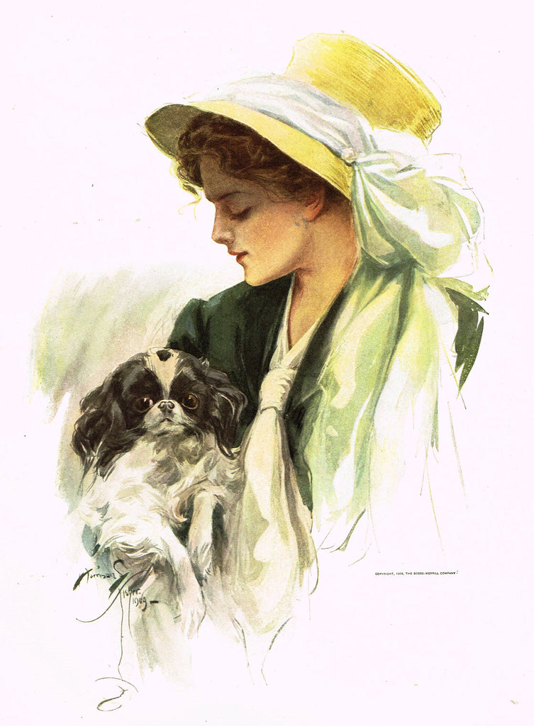 "Harrison Fisher's - ""LOVELY WOMAN WITH DOG"" - Lithograph - 1908"