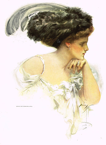 "Harrison Fisher's - ""LOVELY WOMAN WITH FUR HAR"" - Lithograph - 1908"