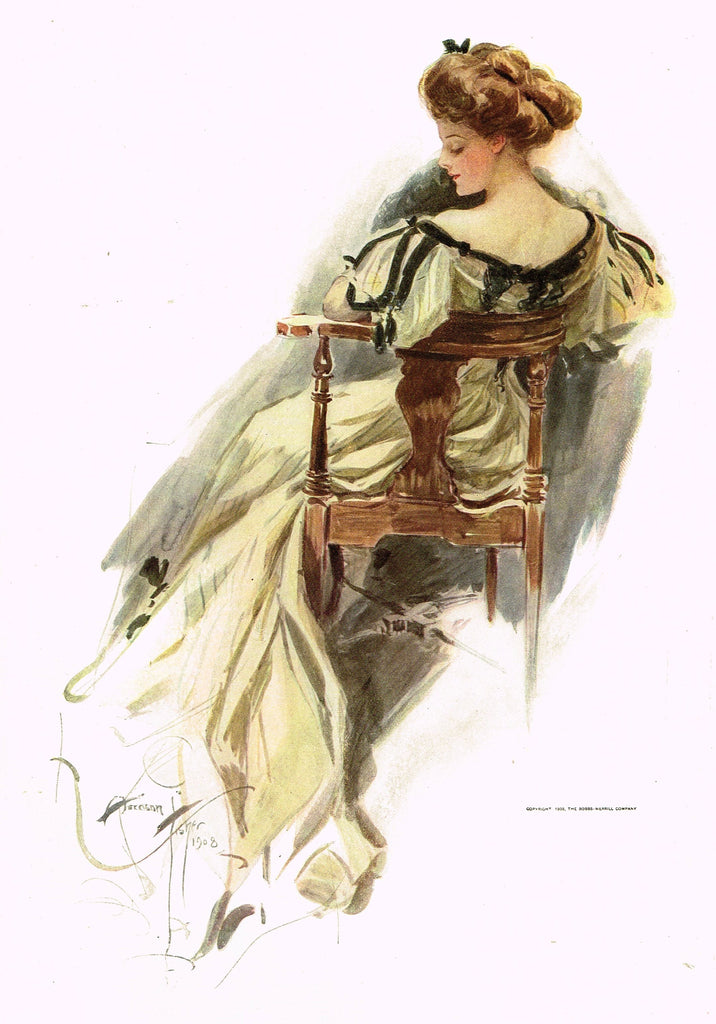 "Harrison Fisher's - ""LOVELY WOMAN WITH CHAIR"" - Lithograph - 1908"