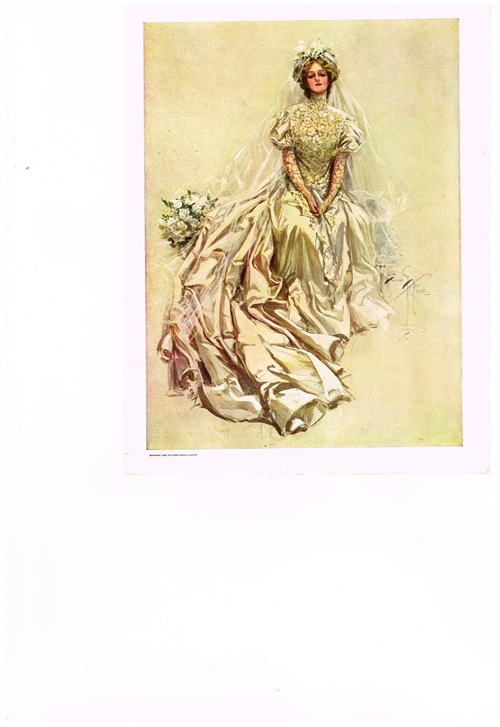 "Harrison Fisher's - ""LOVELY WOMAN WITH WEDDING DRESS"" - Lithograph - 1908"