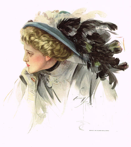 "Harrison Fisher's - ""LOVELY WOMAN WITH FEATHERED HAT"" - Lithograph - 1908"