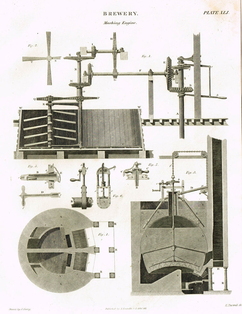 "Constable's Encyclopedia - ""BREWERY - MASHING ENGINE - Plate XLI"" - Engraving - 1817"