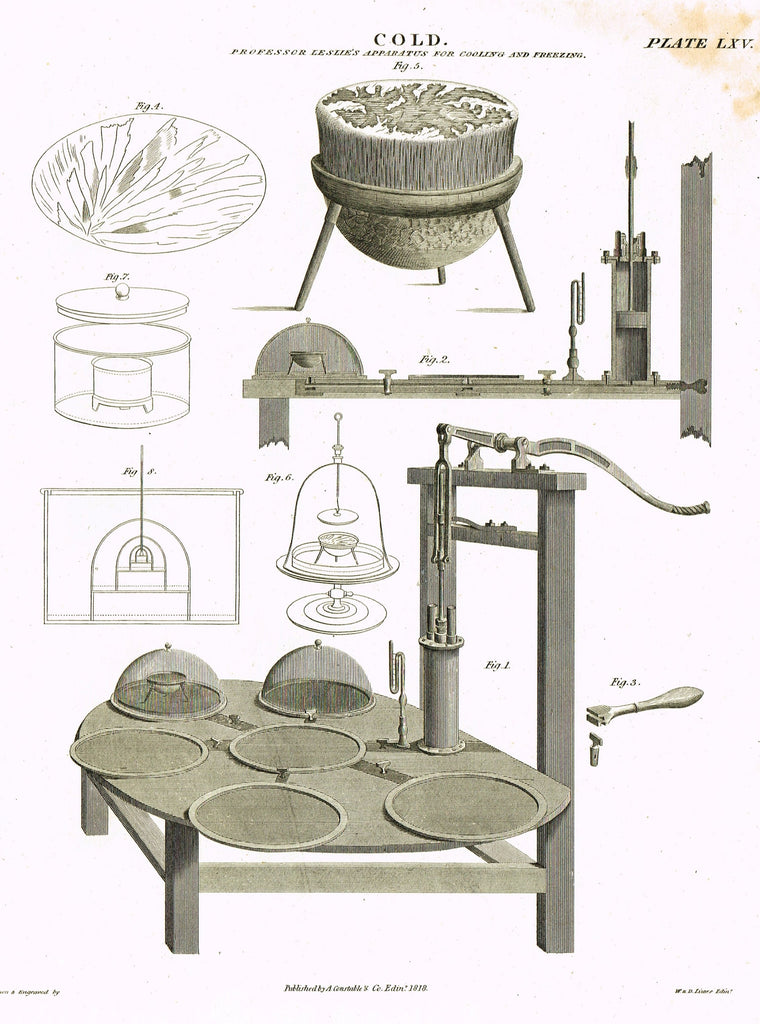 "Constable's Encyclopedia - ""COLD  - LESLIE'S COOLING APPARATUS - Plate LXV"" - Engraving - 1817"