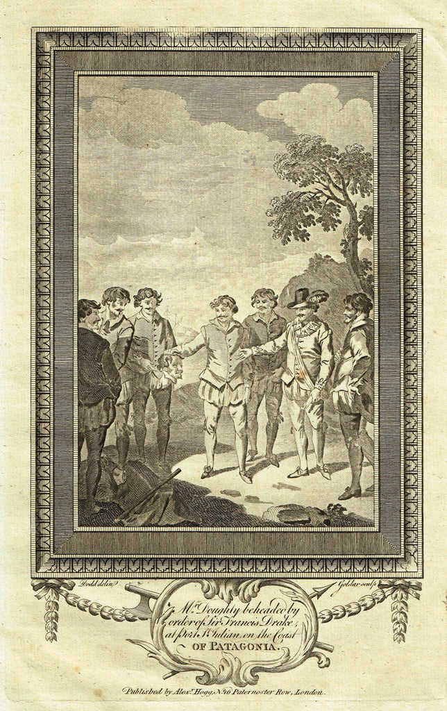 Antique Print - MR. DOUGHTY BEHEADED BY SIR FRANCIS DRAKE AT PORT ST. JULIAN - Engraving - 1783
