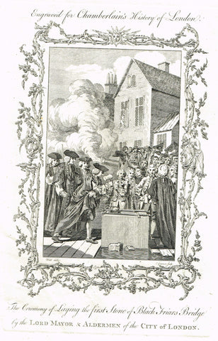 Antique Print - CEREMONY OF LAYING THE FIRST STONE OF BLACK FRIARS BRIDGE - Eng. - 1773