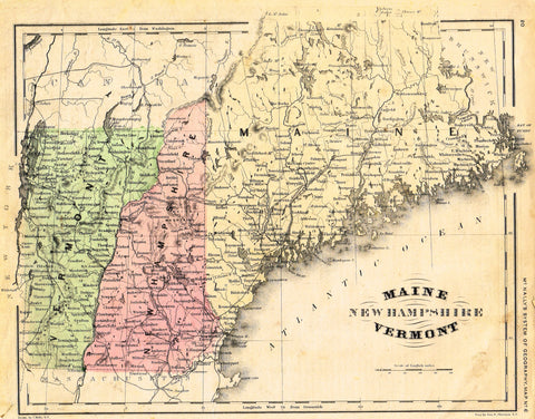 "McNally's System Map - ""MAINE, NEW HAMPSHIRE, VERMONT"" - Hand-Colored Lithogrpah - 1866"