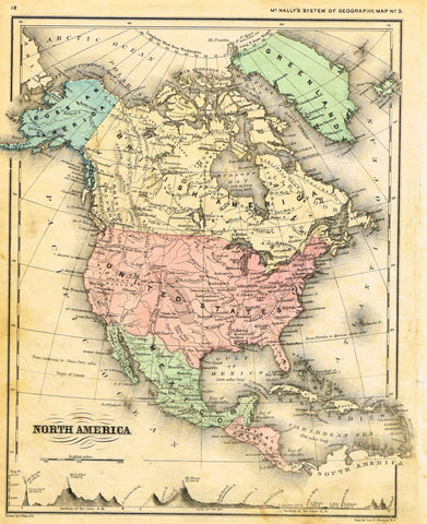 "McNally's System Map - ""NORTH AMERICA"" - Hand-Colored Lithogrpah - 1866"
