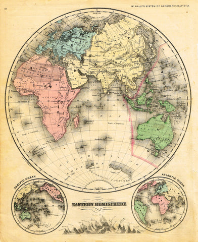 "McNally's System Map - ""EASTERN HEMISPHERE"" - Hand-Colored Lithogrpah - 1866"