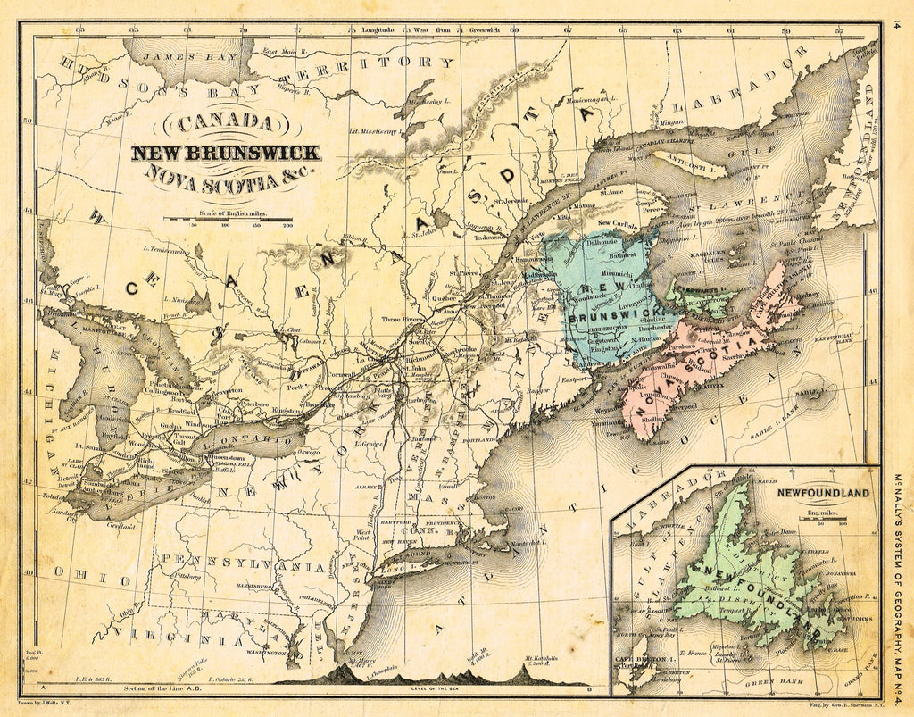 "McNally's System Map - ""NEW BRUNSWICK &  NOVA SCOTIA"" - Hand-Colored Lithogrpah - 1866"