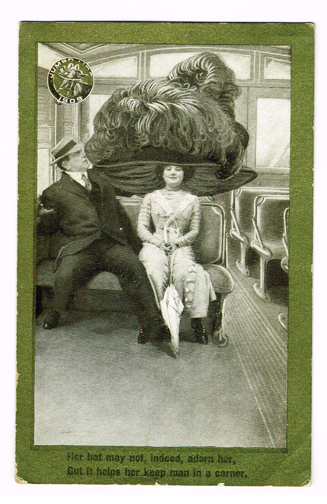"Antique Ephemera -  ""JUMBO HAT - POST CARD""  - Chromolithograph - 1909"