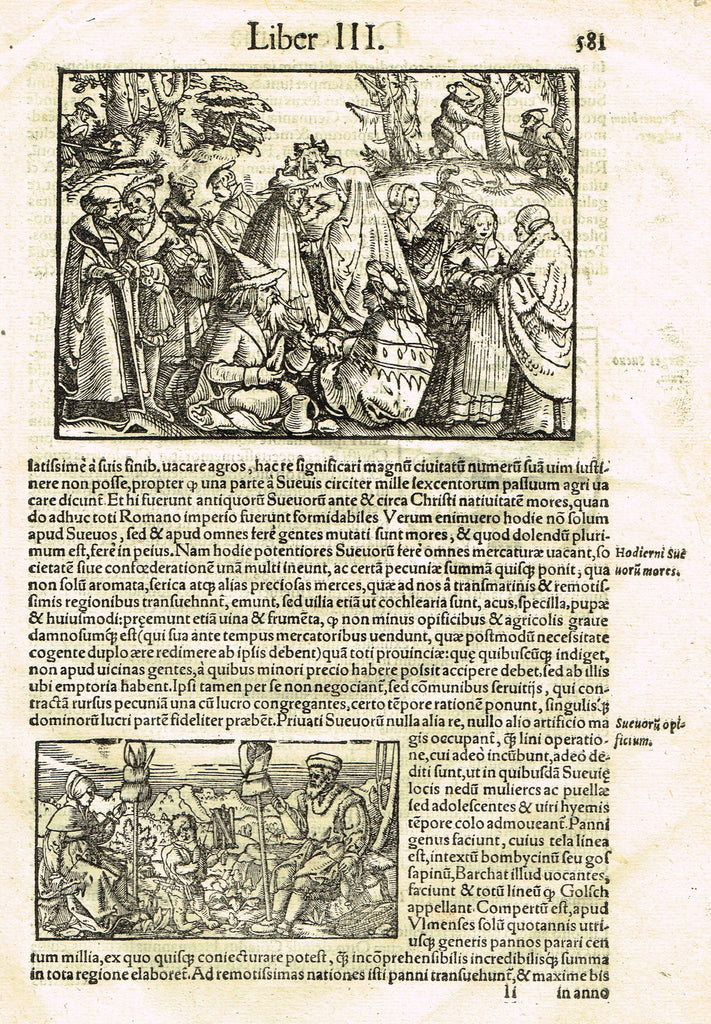 "Sebastian Munster's Cosmographia - ""SCENES FROM GERMANY"" - Woodcut - c1580"