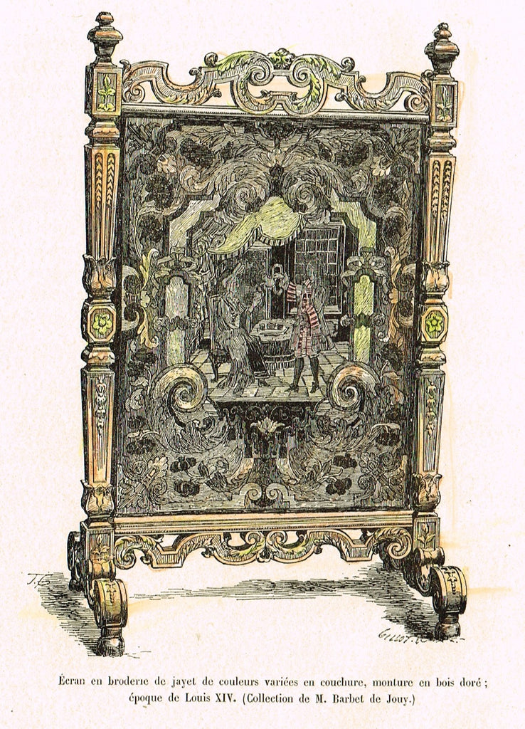"Dercorative Furniture - ""FIRESCREEN"" - Histoire du Mobilier - Hand Colored Litho - 1884"