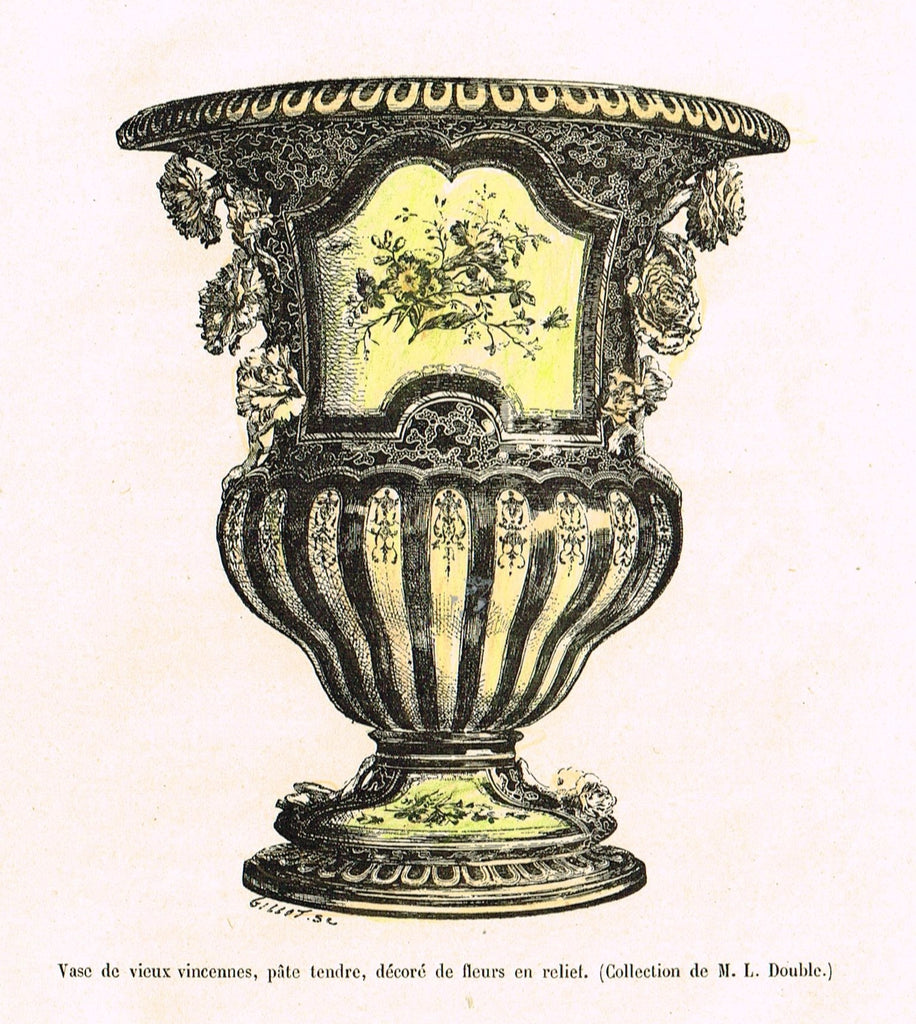 "Dercorative Furniture - ""FANCY VASE"" - Histoire du Mobilier - Hand Colored Litho - 1884"