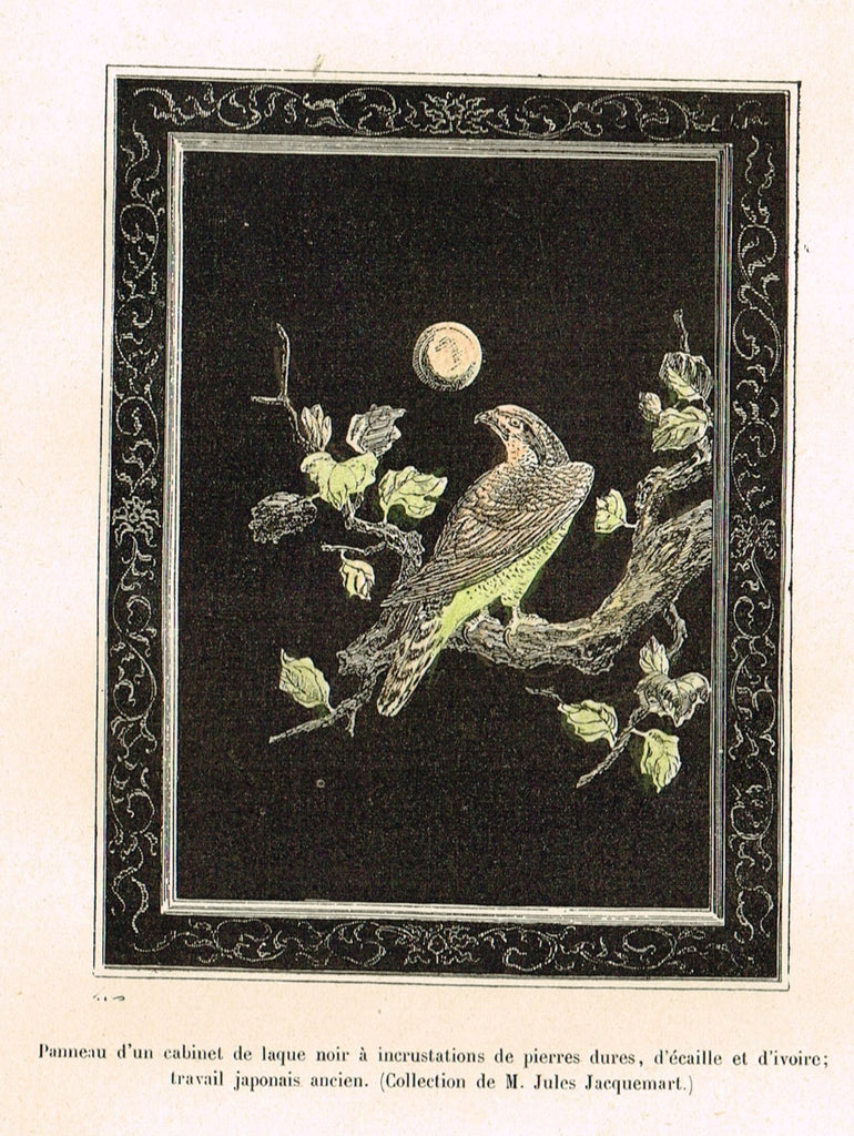"Dercorative Furniture - ""PAINTING OF BIRD"" - Histoire du Mobilier - Hand Colored Litho - 1884"