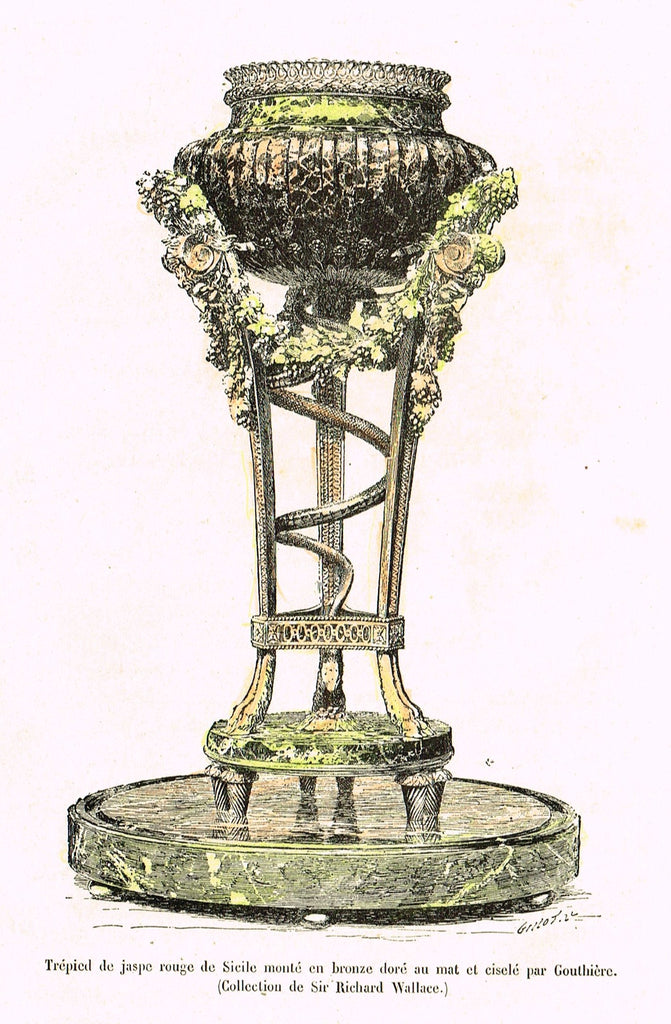 "Dercorative Furniture - ""BRONZE PLANT STAND"" - Histoire du Mobilier - Hand Colored Litho - 1884"