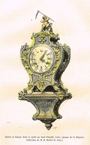 "Dercorative Furniture - ""CLOCK ON STAND"" - Histoire du Mobilier - Hand Colored Litho - 1884"