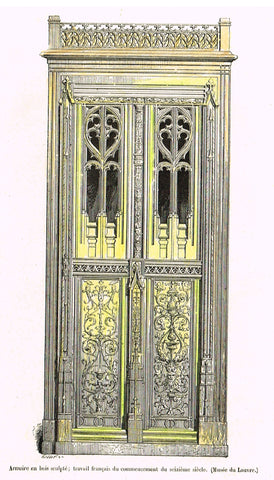 "Dercorative Furniture - ""ARMOIRE"" - Histoire du Mobilier - Hand Colored Litho - 1884"