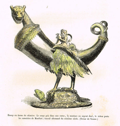 "Dercorative Furniture - ""HORN ON TURTLE"" - Histoire du Mobilier - Hand Colored Litho - 1884"
