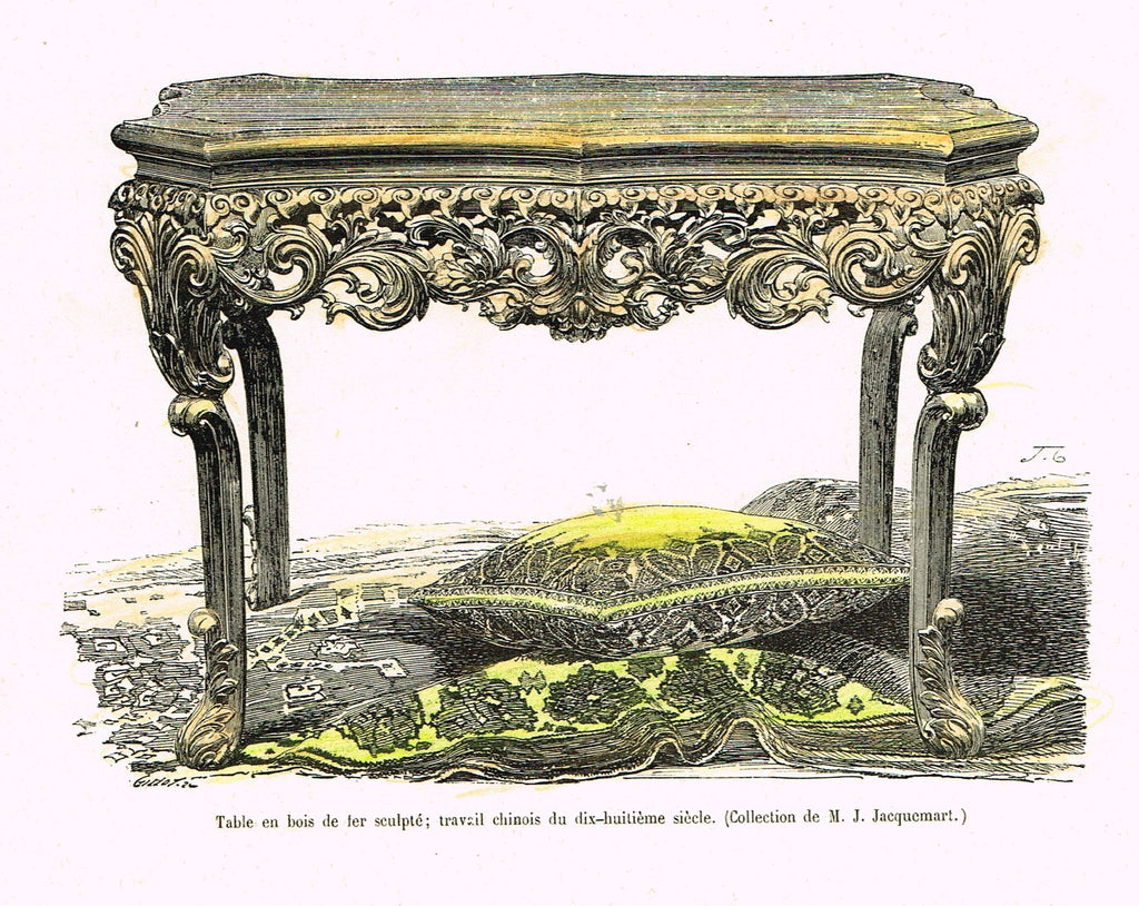 "Dercorative Furniture - ""SIDE TABLE"" - Histoire du Mobilier - Hand Colored Litho - 1884"
