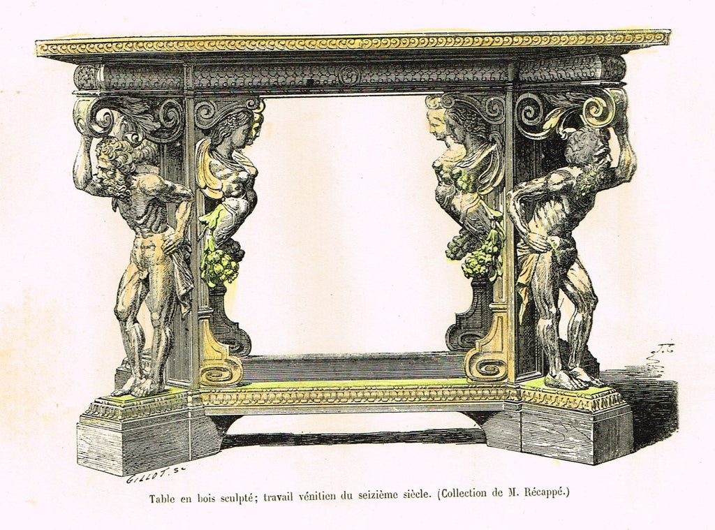 "Dercorative Furniture - ""FIGURED TABLE"" - Histoire du Mobilier - Hand Colored Litho - 1884"