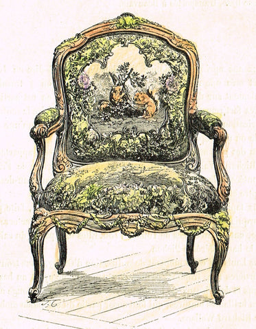 "Dercorative Furniture - ""CHAIR & BUST"" - Histoire du Mobilier - Twe Hand Colored Lithos - 1884"