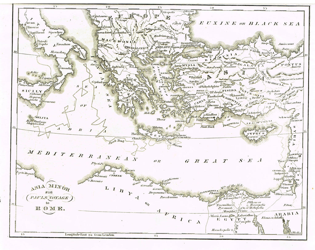 "Holy Bible Map by Andrus - ""ASIA MINOR WITH PAUL'S VOYAGE TO ROME"" - Steel Engraving - 1845"