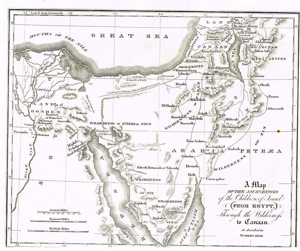 Holy Bible Map by Andrus - MAP OF THE JOURNEYINGS OF THE CHILDREN OF ISRAEL - Engraving - 1845