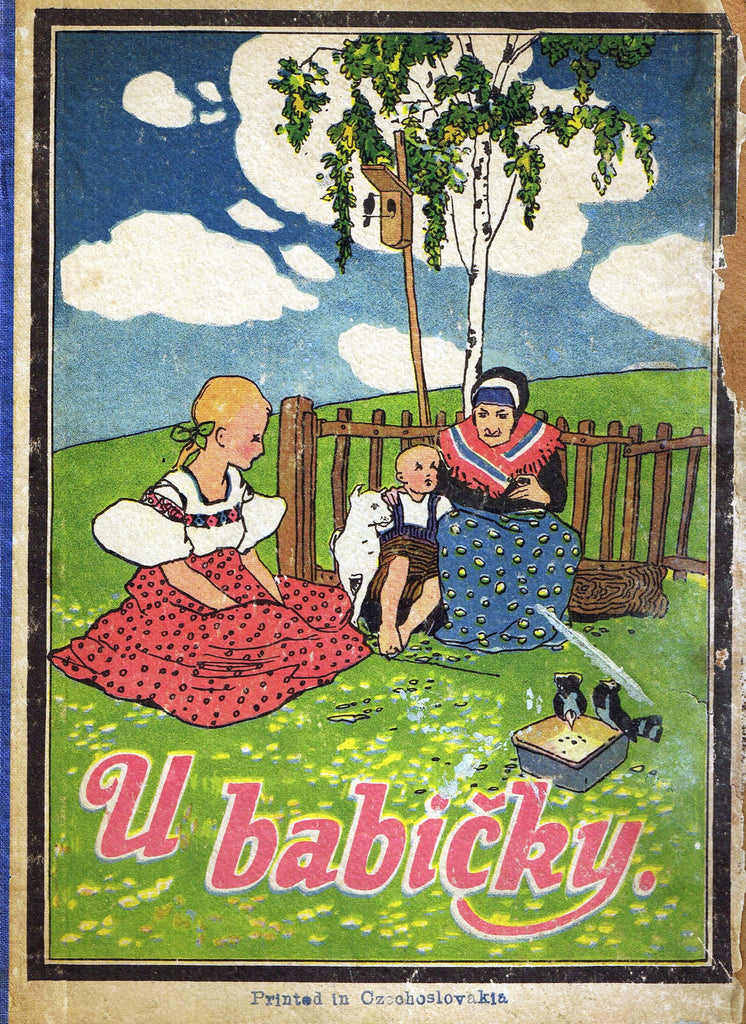 "Antique Children's Print - ""U BABICKY - FRONT COVER"" - Printed in Checkoslovakia - 1928"