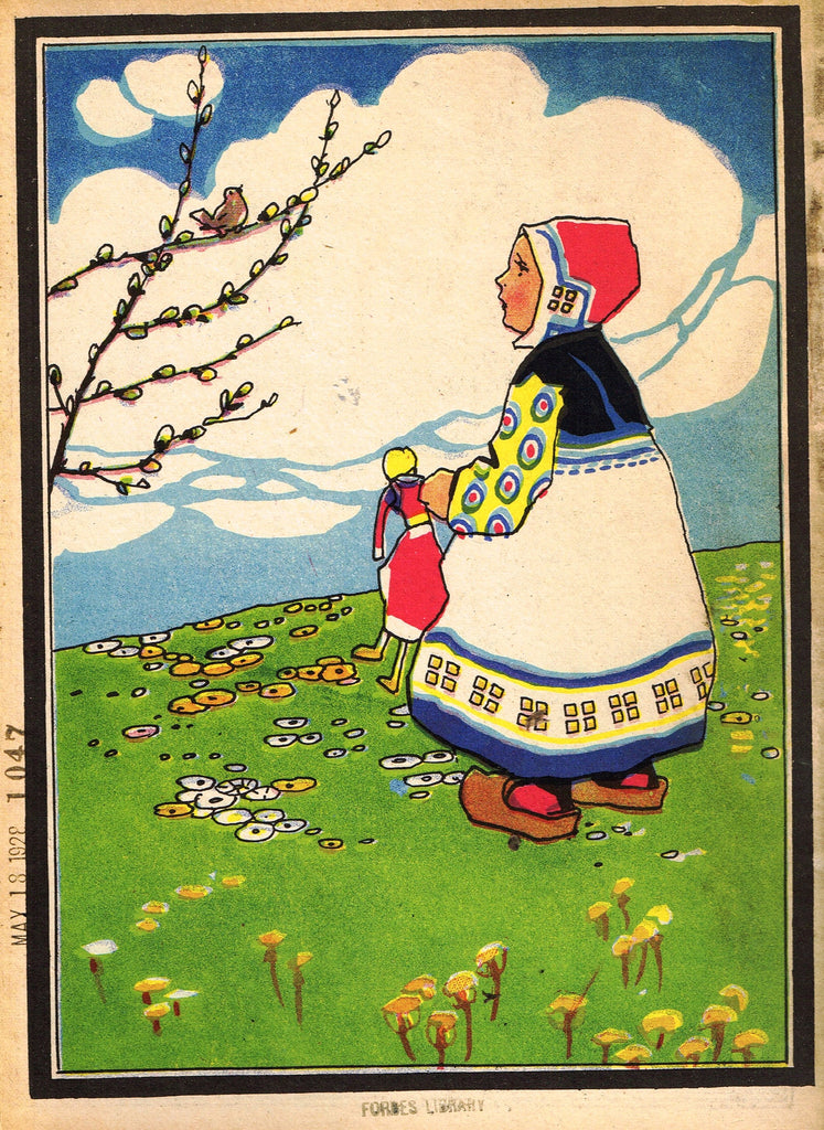 "Antique Children's Print - ""LITTLE GIRL SPEAKING TO BIRD"" - Printed in Checkoslovakia - 1928"