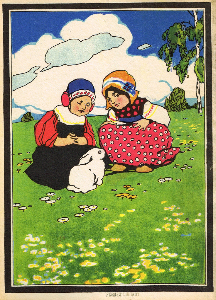 "Antique Children's Print - ""TWO GIRLS WITH BUNNY"" - Printed in Checkoslovakia - 1928"