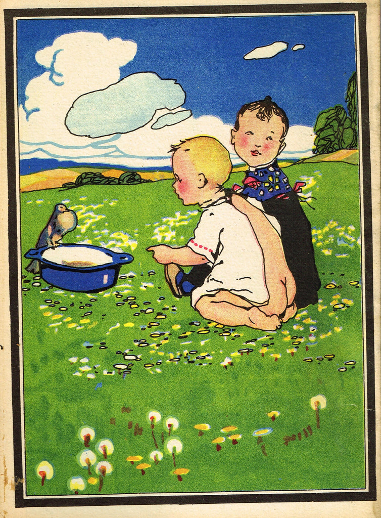 "Antique Children's Print - ""TWO LITTLE BIRDS WITH BIRD"" - Printed in Checkoslovakia - 1928"