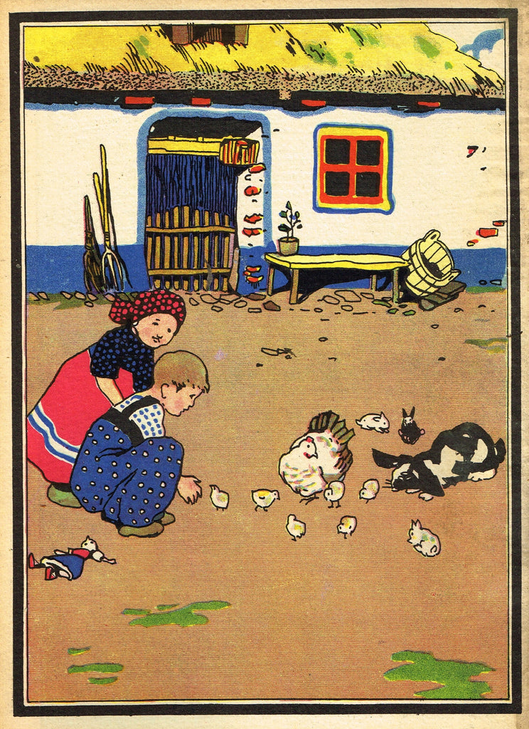 Antique Children's Print - PLAYING WITH CHICKEN, CHICKS AND RABBITS -  1928