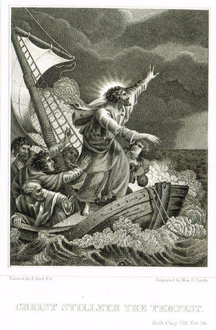 "Holy Bible published by Andrus - ""CHRIST STILLETH THE TEMPEST"" - Steel Engraving - 1845"