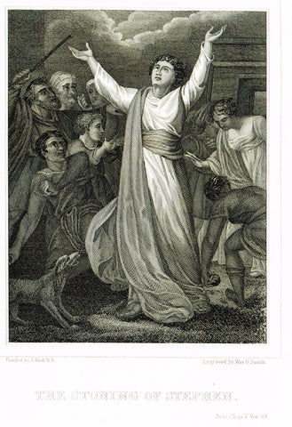 "Holy Bible published by Andrus - ""THE STONING OF STEPHEN"" - Steel Engraving - 1845"