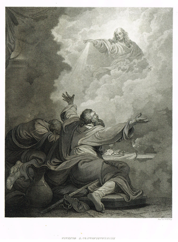 "Holy Bible published by Andrus - ""THE ASCENSION"" - Steel Engraving - 1845"