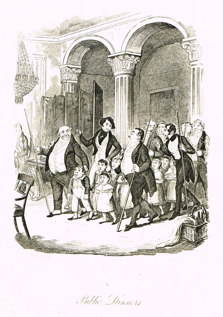 "Crukshanke's 'Sketches by Boz' from Dickens - ""PUBLIC DINNERS"" - Lithograph - 1839"
