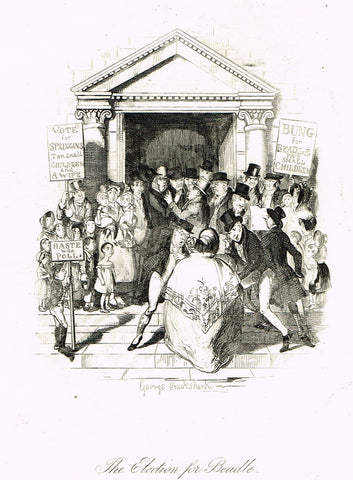 "Crukshanke's 'Sketches by Boz' from Dickens - ""THE ELECTION OF BEADLE"" - Lithograph - 1839"