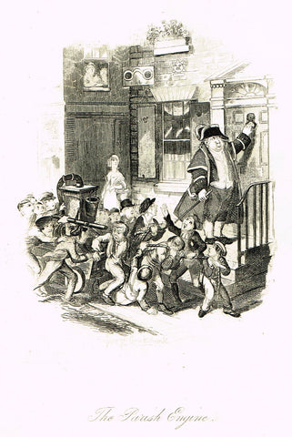 "Crukshanke's 'Sketches by Boz' from Dickens - ""THE PARISH ENGINE"" - Lithograph - 1839"