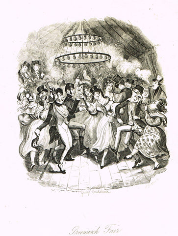 "Crukshanke's 'Sketches by Boz' from Dickens - ""GREENWICH FAIR"" - Lithograph - 1839"