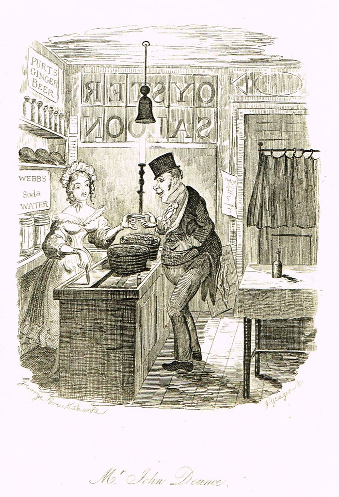 "Crukshanke's 'Sketches by Boz' from Dickens - ""MR. JOHN DOUNCE"" - Lithograph - 1839"