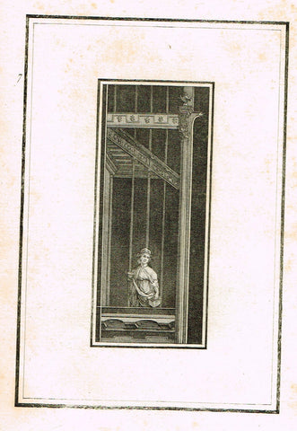 "David's Antiquites d'Herculum - ""WOMAN IN FRONT OF BARS - Plate 7"" - Copper Engraving - 1781"