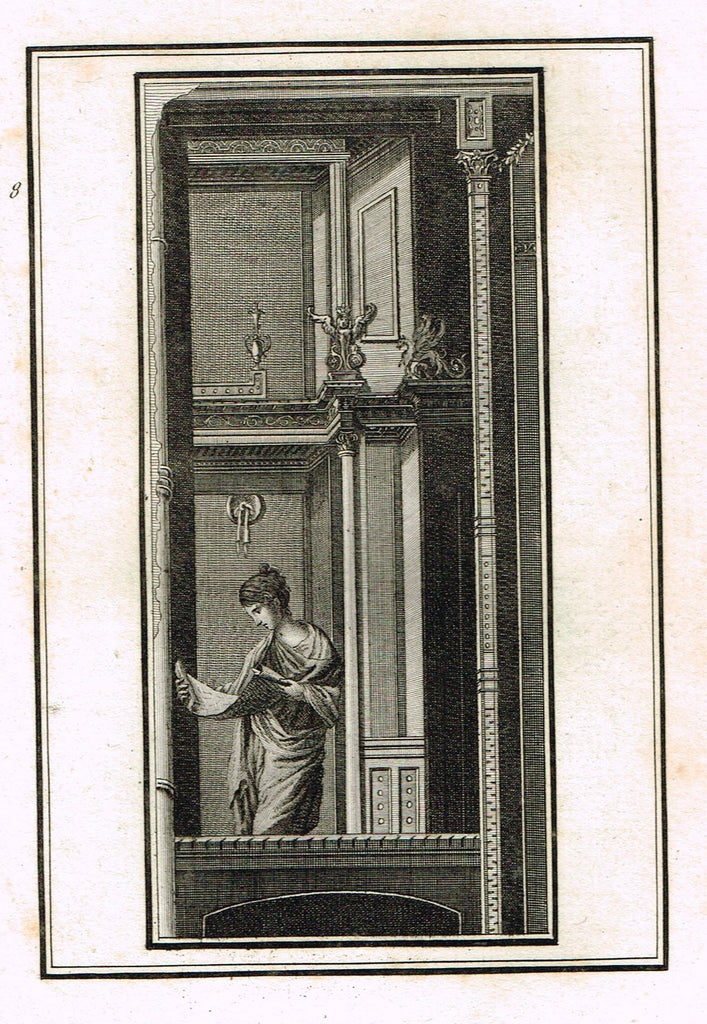 "David's Antiquites d'Herculum - ""WOMAN READING  - Plate 8"" - Copper Engraving - 1781"