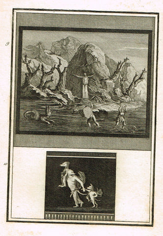 "David's Antiquites d'Herculum - ""MONSTERS  - Plate 9"" - Copper Engraving - 1781"