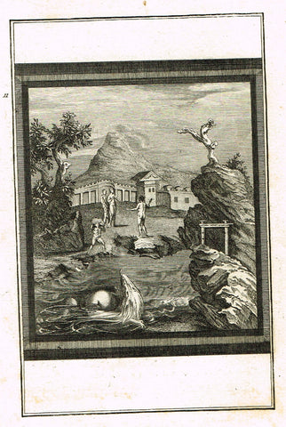 "David's Antiquites d'Herculum - ""NUDE AT THE TEMPLE  - Plate 11"" - Copper Engraving - 1781"
