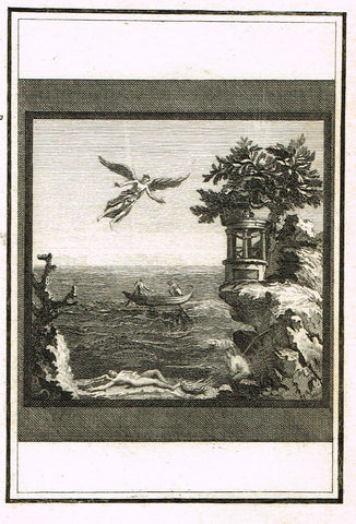 "David's Antiquites d'Herculum - ""ANGEL FLYING  - Plate 12"" - Copper Engraving - 1781"