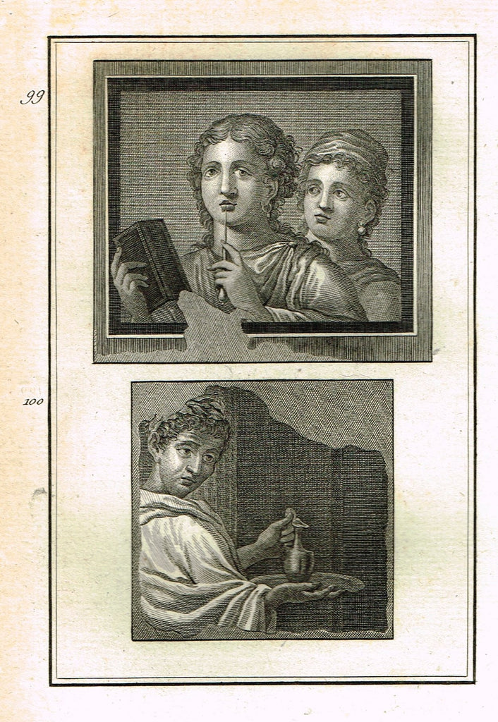 "David's Antiquites d'Herculum - ""TWO GREEK WOMEN  - Plates 99 & 100"" - Copper Engraving - 1781"