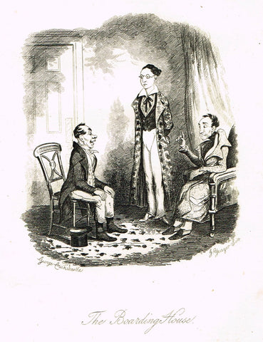"Crukshanke's 'Sketches by Boz' from Dickens - ""THE BOARDING HOUSE"" - Lithograph - 1839"