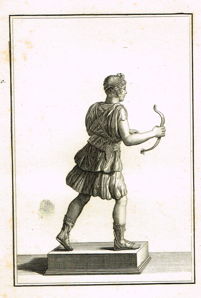 "David's Antiquites d'Herculum - ""BOW CARRIER BACK  - Plates 140"" - Copper Engraving - 1781"