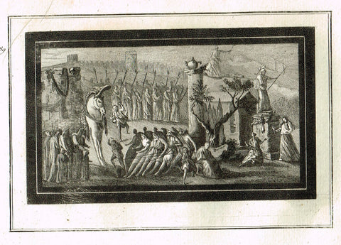 "David's Antiquites d'Herculum - ""BIG WHITE HORSE  - Plates 89"" - Copper Engraving - 1781"