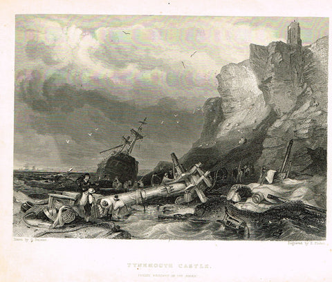 "Marine Print - Balmer's ""TYNEMOUTH CASTLE"" Engraved by Finden - Steel Engraving - c1840"